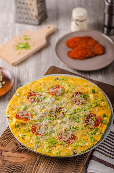 サラミ ブルーチーズ ハーブ チーズ 背景 ストックフォト © Peteer