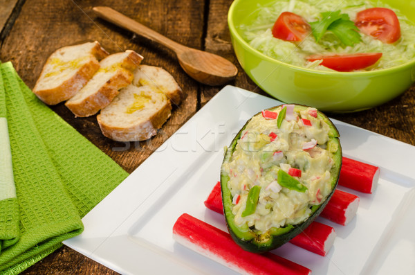 Gevuld avocado vers baguette voedsel achtergrond Stockfoto © Peteer