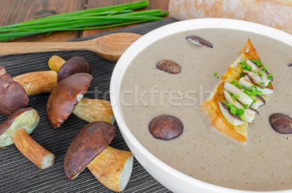 Mushroom cream soup with toast and fresh herbs Stock photo © Peteer
