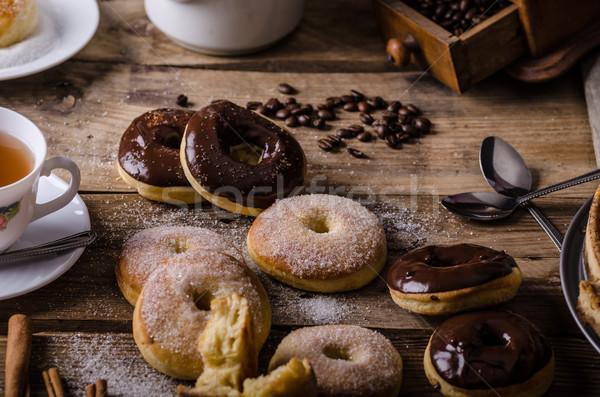 古い スタイル ドーナツ 素朴な 砂糖 ダークチョコレート ストックフォト © Peteer