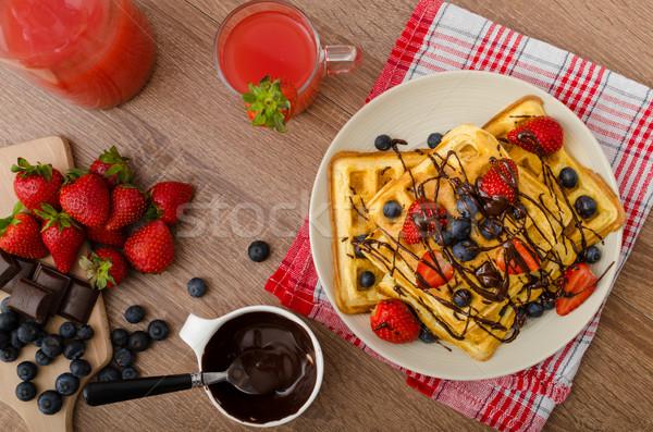 Belgian waffles with blueberries, strawberries Stock photo © Peteer