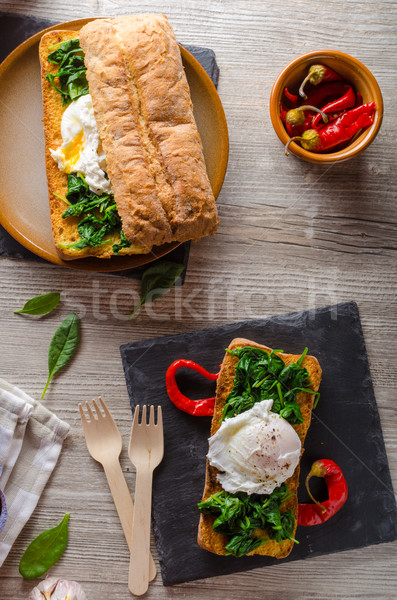 Toasted baguette with poached egg  Stock photo © Peteer