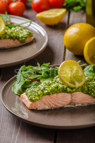 Steamed salmon with pesto Stock photo © Peteer