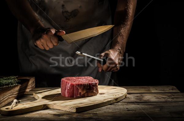 Chef butcher prepare beef steak Stock photo © Peteer
