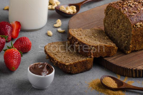 Nutella spread with wholegrain bread Stock photo © Peteer