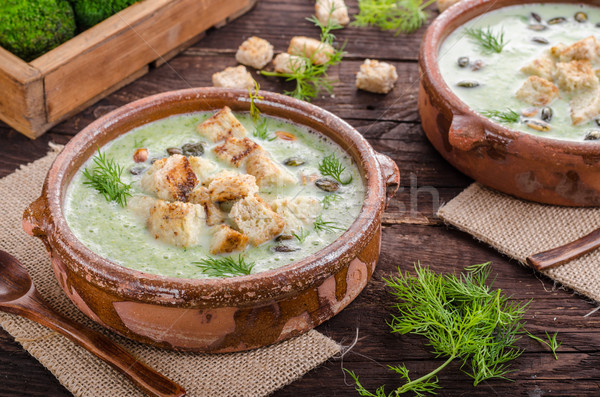Brocoli soupe vintage photographie simple bois Photo stock © Peteer