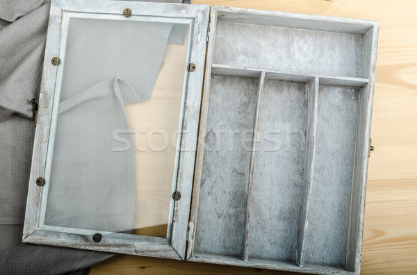 Kitchen cloth and free box on wood background Stock photo © Peteer