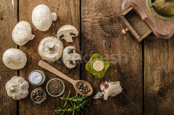 Bio garlic, spices and wild mushrooms from the home garden Stock photo © Peteer