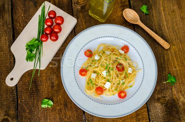 спагетти помидоры черри моцарелла оливкового масла продовольствие свет Сток-фото © Peteer