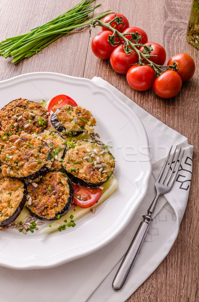 Fried zucchini bread wrapped in herb crust Stock photo © Peteer