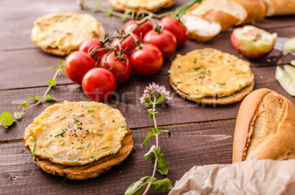 Mini omelets crunchy pastry Stock photo © Peteer