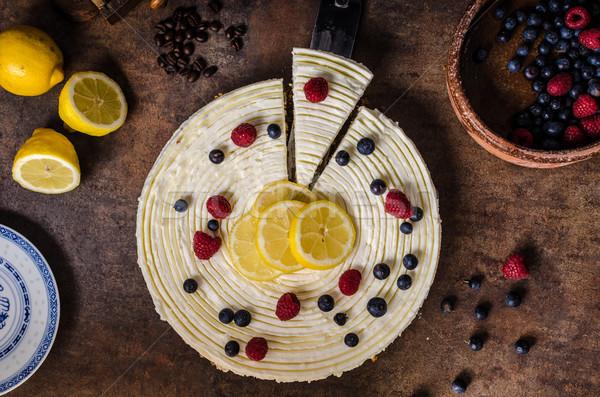 Stock photo: Lemon cheesecake with berries