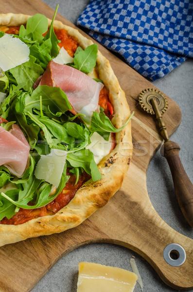 Rustic parma ham pizza Stock photo © Peteer