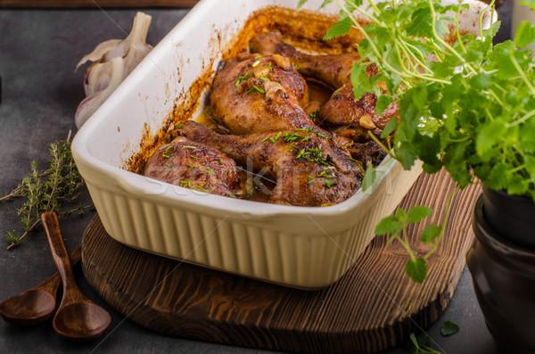 Czosnku rozmaryn kurczaka zioła masło Zdjęcia stock © Peteer