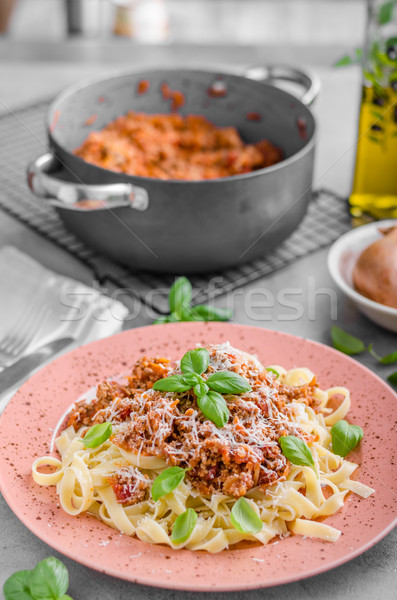 Pasta bolognese delish food Stock photo © Peteer