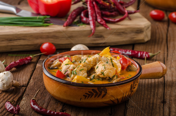 Chicken curry vegetable delish food Stock photo © Peteer