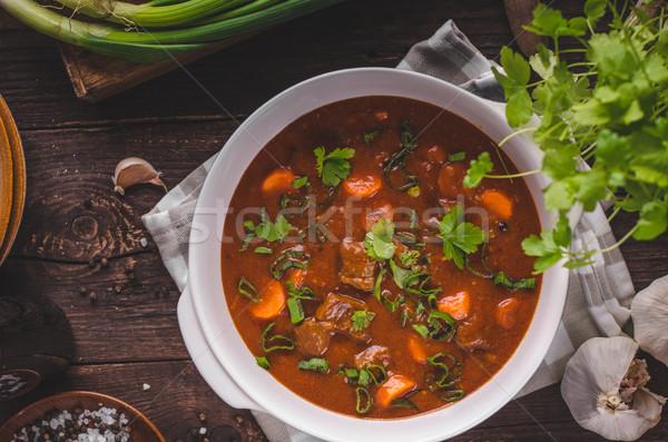 Marhapörkölt répák étel fotózás gyógynövények bent Stock fotó © Peteer