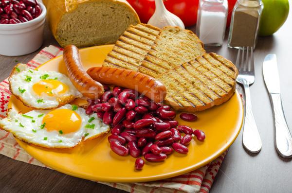 Angielski śniadanie czosnku toast fasola Zdjęcia stock © Peteer