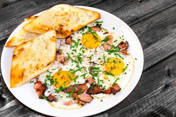 бекон яйца хрустящий тоста bio продукт Сток-фото © Peteer
