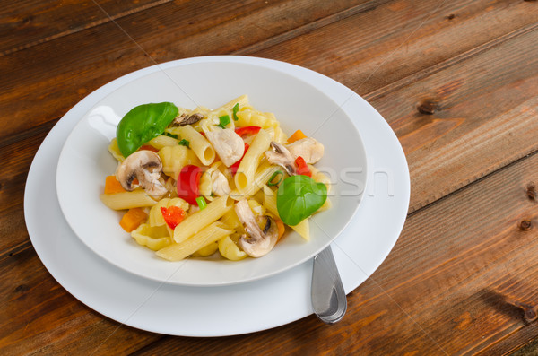 Pasta with chicken Stock photo © Peteer