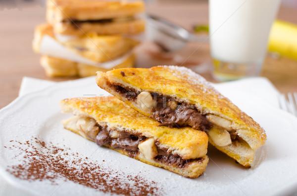 Fransız tost doldurulmuş çikolata muz taze süt Stok fotoğraf © Peteer