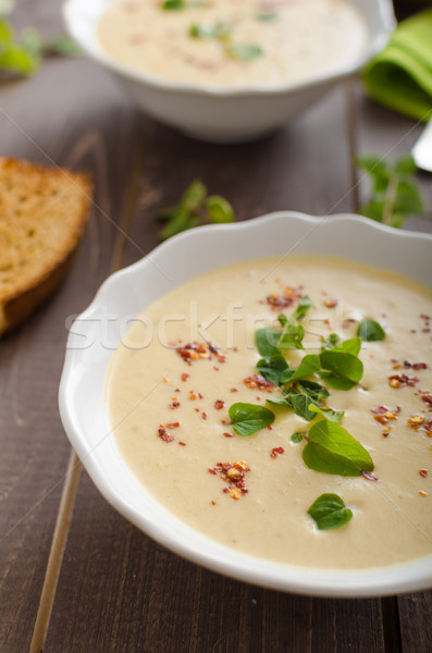 Creamy zucchini soup with chilli and oregano Stock photo © Peteer