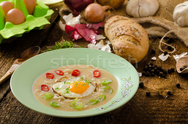 Hhomemade potato, bulls-eye fried egg Stock photo © Peteer