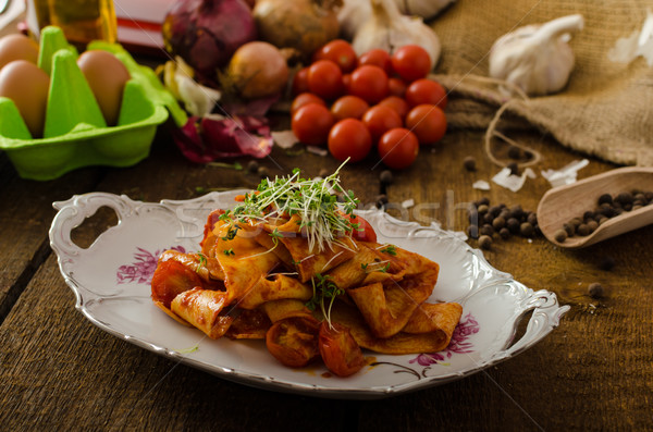 Pasta arrabiata with chilli and garlic organic Stock photo © Peteer