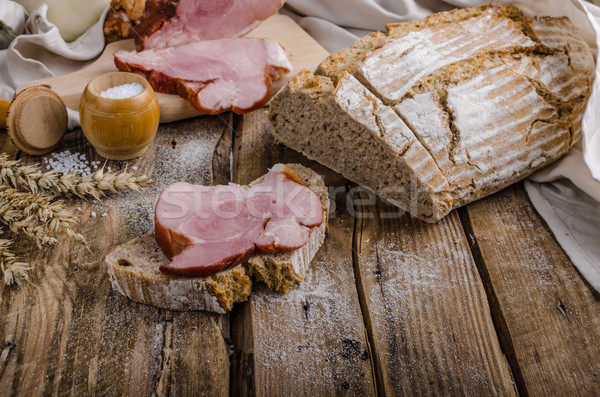 Smoked meat on homemade bread Stock photo © Peteer