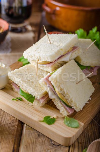 バイオ サンドイッチ チーズ ハム 緑 ストックフォト © Peteer