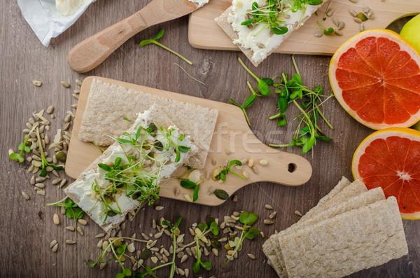 Healthy breakfast, Crispbread with organic cream cheese Stock photo © Peteer