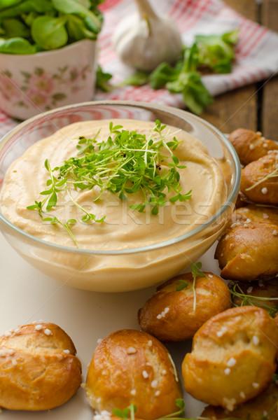 Stok fotoğraf: Tuzlu · kraker · peynir · ev · yapımı · çedar