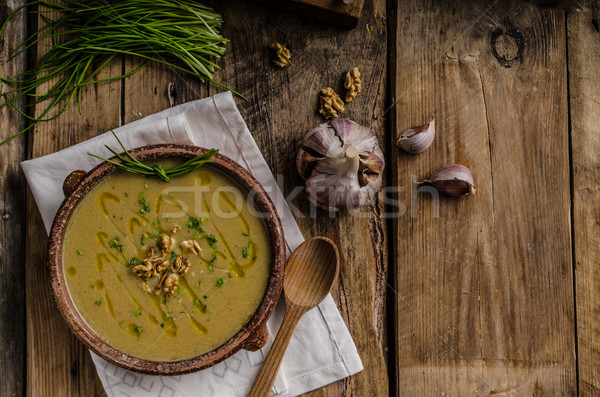 Crema sopa perejil raíz aceite de oliva Foto stock © Peteer