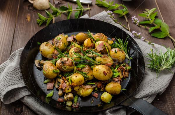 Cowboy картофель бекон травы новых продовольствие Сток-фото © Peteer
