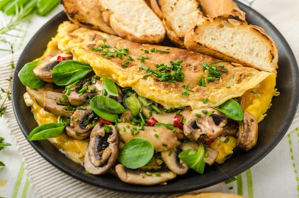 Gombák saláta gyógynövények chilli francia étel Stock fotó © Peteer