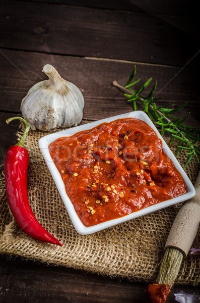 Very spicy tomato sauce for grill Stock photo © Peteer