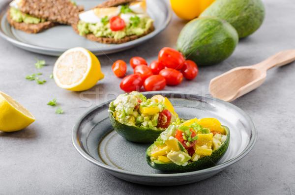 Töltött avokádó zöldség bio egészséges recept Stock fotó © Peteer