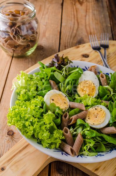 新鮮な パスタ 卵 サラダ ゆで卵 背景 ストックフォト © Peteer