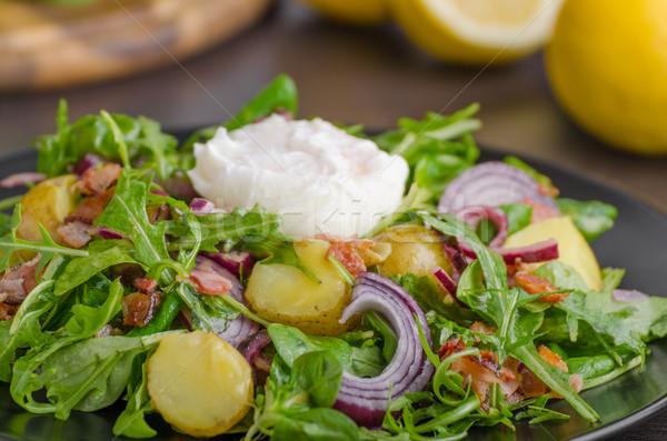 Krumpli saláta saláta tojás hagyma étel Stock fotó © Peteer