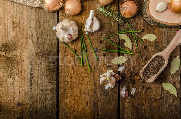 玉葱 ニンニク ハーブ バイオ 庭園 生 ストックフォト © Peteer