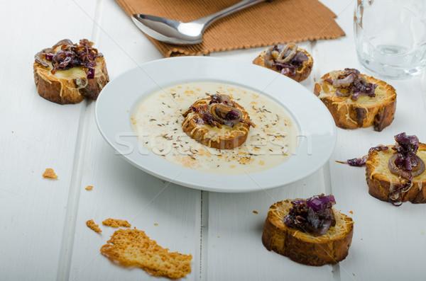 Kremowy cebula czosnku zupa toast Zdjęcia stock © Peteer