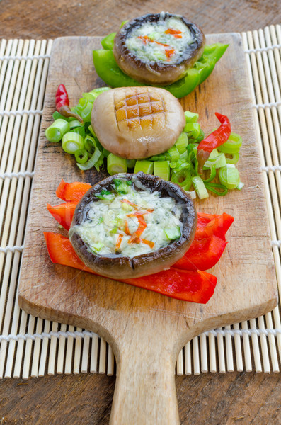 Baked muschrooms with blue cheese Stock photo © Peteer