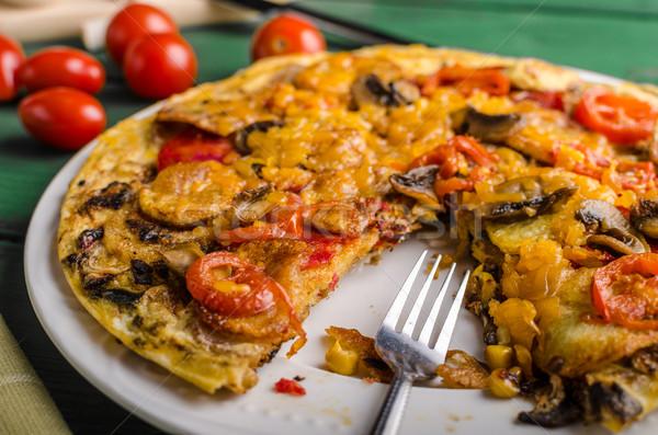 Potato frittata with chorizo Stock photo © Peteer