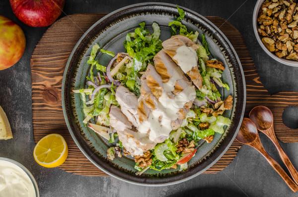 Salade gegrilde kip heerlijk eenvoudige recept schimmelkaas Stockfoto © Peteer