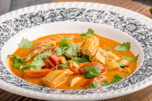 Delicioso caril de frango vegetal comida fotografia frango Foto stock © Peteer