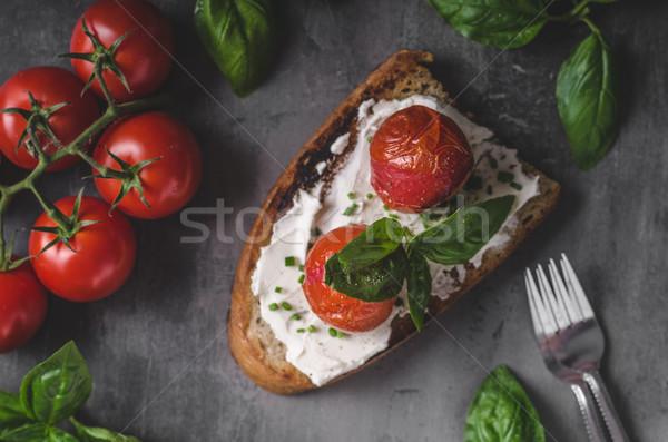 хлеб сыра томатный свежие базилик Сток-фото © Peteer