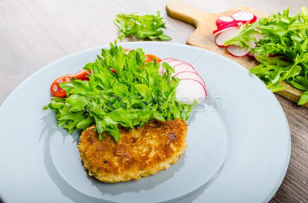 Domuz eti parmesan peyniri marul turp kiraz domates gıda Stok fotoğraf © Peteer