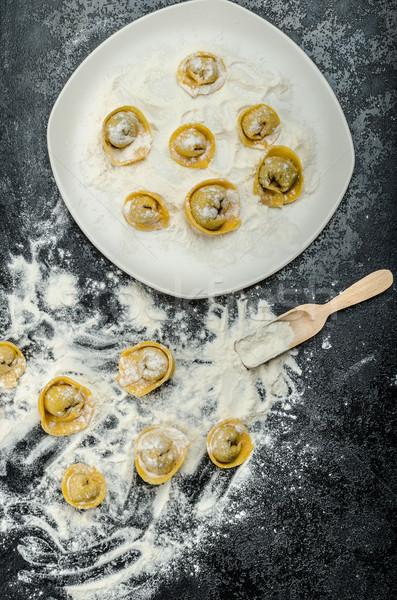 Homemade pasta tortellini stuffed Stock photo © Peteer