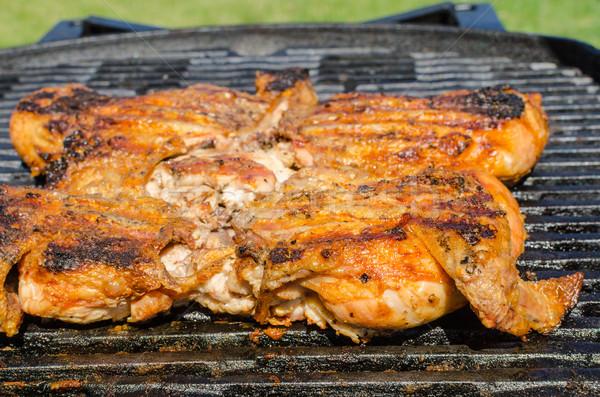Chicken under a brick with panzanella salad Stock photo © Peteer