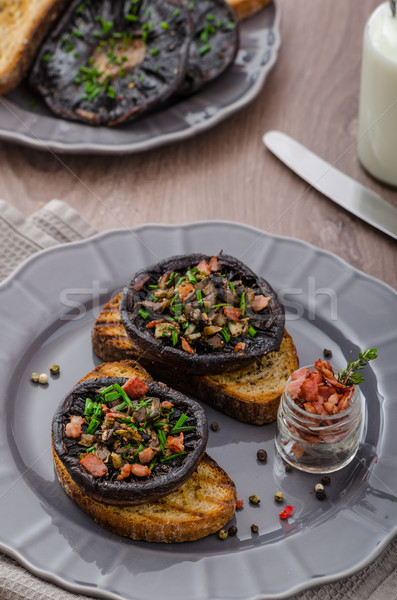 Portobello stuffed with herbs Stock photo © Peteer
